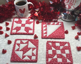 Quilted Mug Rugs, Red and White Valentine Mug Rugs