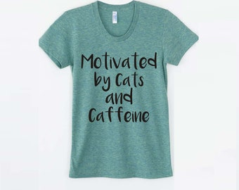 Mothers Day Pet gifts Cat lover gift women graphic tee funny tshirt cat shirt pet mom gift for her Cats and Caffeine coffee lover shirt