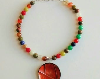 Bright Bold and Colorful Beaded Spring Summer Necklace with Glass and Stone Beads for Her Jewelry