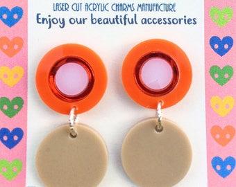Orange, beige & red mirror round drops (Laser Cut Earrings)