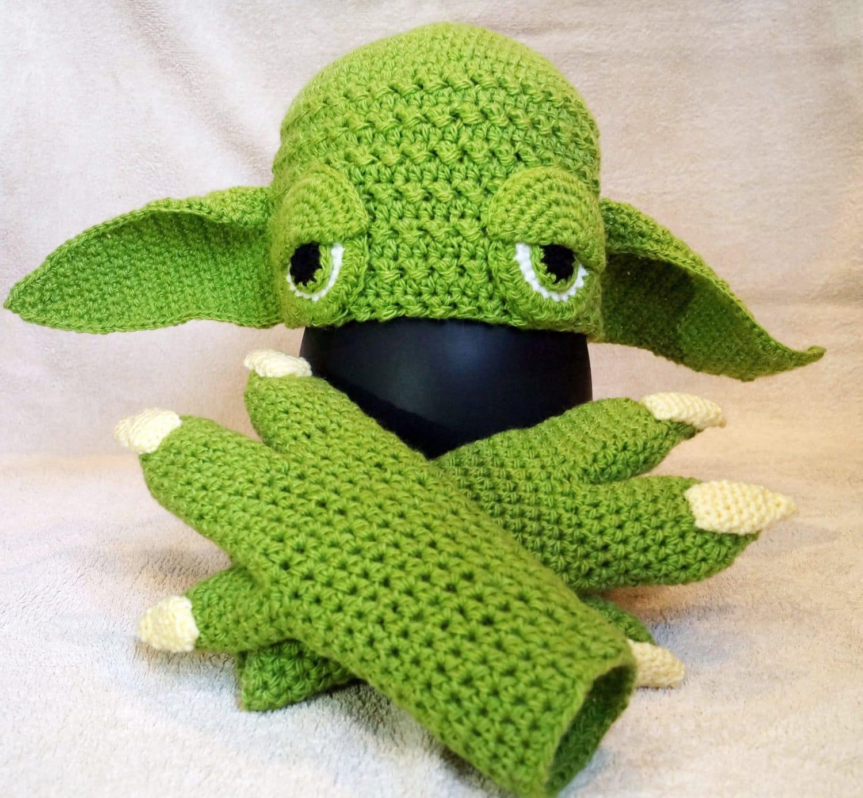 Yoda, Hat Crochet Pattern PDF + Yoda Gloves Crochet Pattern, Yoda ...