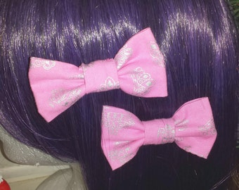 Pair of Small Pink Princess Tiara Bows