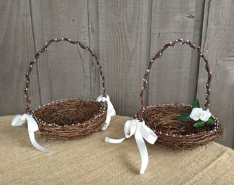 Flower girl basket/ rustic flower girl basket/pearl basket/ wedding basket for flower girl/ wedding accessory/ rustic wedding/ woodland wed