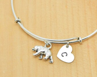 Polar Bear Bangle, Sterling Silver Bangle, Polar Bear Bracelet, Bridesmaid Gift, Personalized Bracelet, Charm Bangle, Initial Bracelet