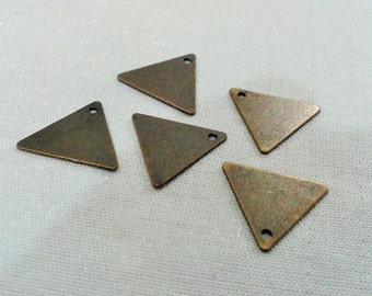 50 Pcs Antique Bronze 14,5 x 14, 5 mm Geometric Triangle Form Findings - 1 Holes