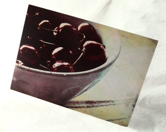 Life is a Bowl of Cherries - Blank 4x5.5 Note Card, Single or Set of 4 - Burgundy Kitchen Food Cherry Fruit Retro Vintage