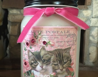 Pretty in Pink Kitties 16oz Mason Jar Soy Candle Choose a Scent Home Decor Spring Candles Scented Candle Gift Ideas