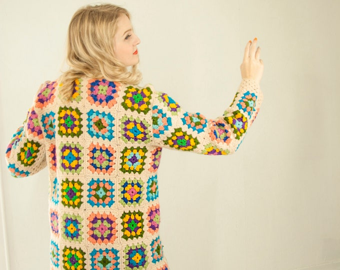 Vintage granny square sweater, long white colorful rainbow crochet patchwork cardigan jacket boho afghan retro 1970s