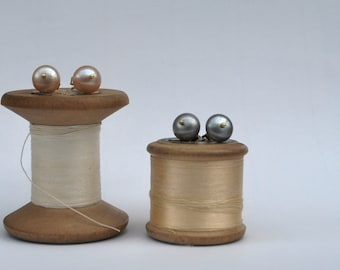 Freshwater pearl earrings in soft grey, cream and pale pink