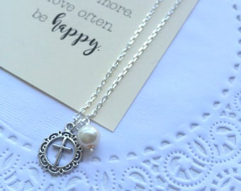 Cross charm necklace, simple charm, religious gift, baptism gift, FREE card.
