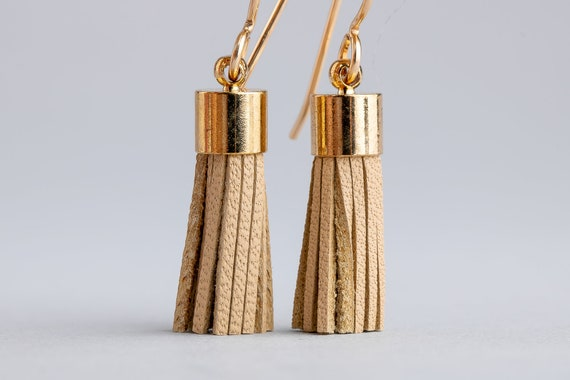 Tan Leather Tassel Earrings - Brown Synthetic Leather Tassel Earrings in 14K Gold Fill - Long Gold and Beige Earrings - Tassel Earrings