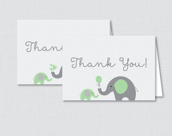Printable Elephant Baby Shower Thank You Card - Printable Instant Download - Green and Gray Chevron Elephant Thank You Card - 0024-G