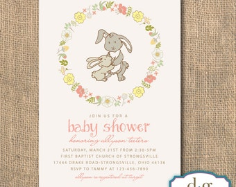 Baby Shower, Mom and Baby Bunny, Baby Shower Invitation, Floral Wreath, 5X7, PRINTABLE