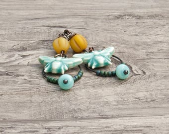 Ceramic bee  boho earrings lampwork glass rustic artisan jewelry art bead jewellery- Majoyoal- Amy Hall- WinterBirdStudio
