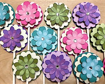 Spring Flower Cupcake Toppers, Easter Flower Decorations, Flower Birthday, Easter Flower Baby Shower, Spring Flower Party, Set of 12