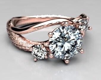 Rose Gold Moissanite Twig Engagement Ring - Koa Bark Texture Tree Ring - Rustic Alternative Engagement Ring - Size 4 Fairy Engagement Ring