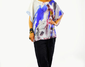 New collection/Maxi Silk Blouse/Silk 100% tunic/Hand painted Silk Top/Plus size Silk Blouse/Maxi Loose Top/Loose Top/Painting on hand/T1388
