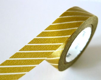 Gold Washi Tape Thick thin line 15mm Japanese MT Masking Tape - PrettyTape