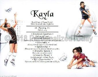 Volleyball Name Meaning Origin Print Name Personalized Certificate 8.5 x 11 Inches Customized With Any Name