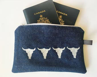 Ready to ship / Passport case / passport case / bull head / Bull Head / gift for her