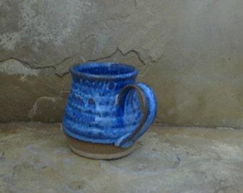 Mug Cup - Handmade Stoneware Pottery Ceramic - Indigo Blue -16 ounce