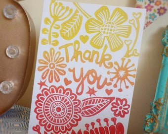 Thank you flowers -  handmade lino print cards, set of 3 with envelopes