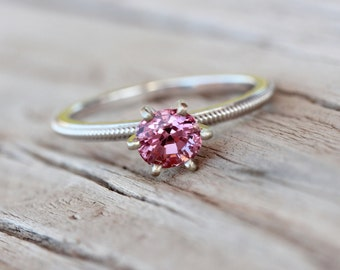 Romantic Pink Spinel Engagement Ring 14k White Gold Milgrain Detail Traditional 6 Prong Bridal Band Sparkly Bright Gemstone - Blush Twinkle