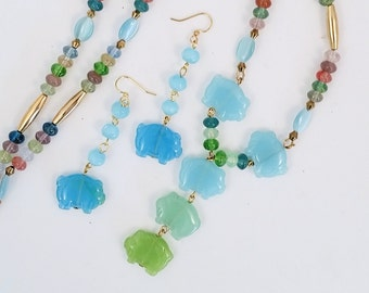 """Love Pigs Necklace SET: gemstone carved pigs  Y necklace 26.5""""  & 2.375"""" earrings with dangling pigs, in aqua and green set. On SALE"""