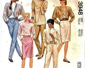 McCall 3948 veste boléro facile femme, pull Top, jupe droite, conique conique pantalons couture patron taille petite (10-12) millésime 1988