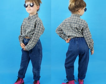 Kid's Vintage Plaid Early 90s Cotton Kids Button Up Shirt, Long Sleeve Top, Vintage Button Up Shirt, 90s Grunge, Kid's Size 6