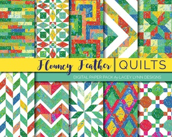 Flouncy Feather - Quilts   Digital Paper Pack   12x12, 10 Hi-Res images   Instant Download