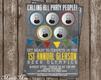Beer Olympics Invitation, Birthday Olympics Invitations, Let the Games Begin, Olympic Theme, Digital, Printable