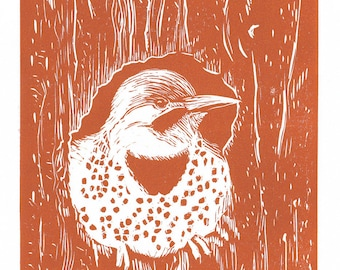 Flicker, 1 Color Linocut Relief Print, Bird, Hand Pulled Fine Art, Limited Edition, Printmaking Original