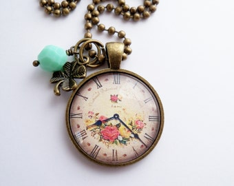 Clock Pendant Necklace - Roman Numerals - You Choose Bead and Charm - Custom Jewelry - Yellow and Pink Roses - Cottage Chic - Customized