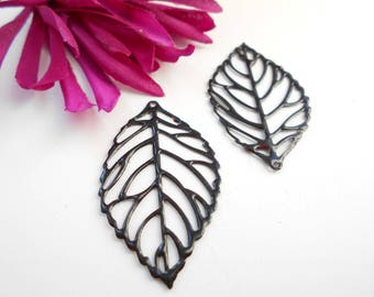 x 2 black enamel leaf prints