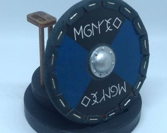 Handmade Miniature 1/10 scale Viking Shield with Stand and Two Metal Axes!