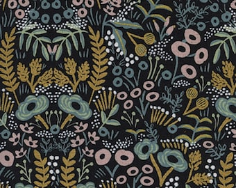 Cotton + Steel - Rifle Paper Co. - Menagerie - CANVAS Tapestry in Midnight Metallic