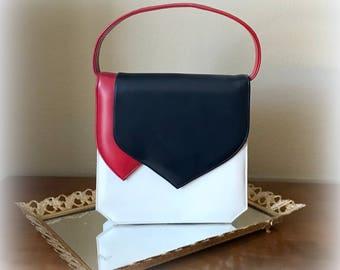 60s SPECTATOR Handbag - Red White & Navy Handbag - Top Handle Vintage Purse - Vinyl - Fabric Lining - Very Classy