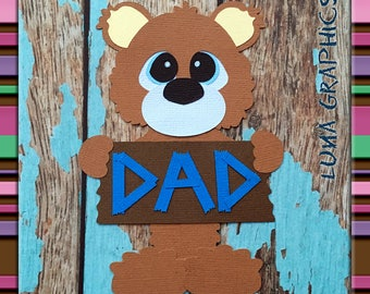 DAD BEAR Embellishment Paper Piecing card making and scrapbooking