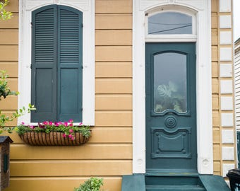 New Orleans Yellow House Green Plant Door Greeting Cards