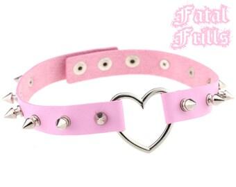 Spiked Pink Leather Heart Choker Collar Punk Pastel Goth Kawaii 90s Adjustable O-Ring Necklace Spikey Choker Vegan