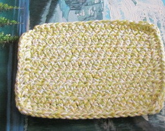 Hand crochet cotton dish cloth 6 by 6.5 cdc 111