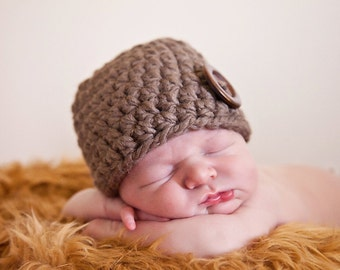 Newborn Baby Hat Newborn Baby Girl Hat Newborn Baby Boy Hat Baby Beanie Crochet Baby Hat Photo Props Photography Props Taupe Light Brown