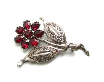 Large Vintage 1930s Pot Metal Red Rhinestone Flower  Brooch  Pin