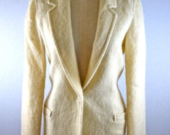 Cream White Fuzzy Mohair Blazer Jacket