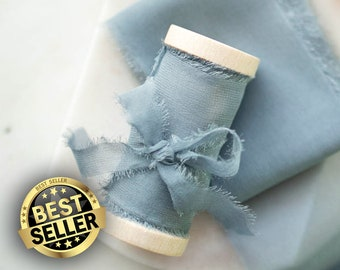 Something Blue Silk Ribbon; 100% Silk; Hand ripped; blue Wedding bridal bouquet, invitations, favors, wedding photography styling