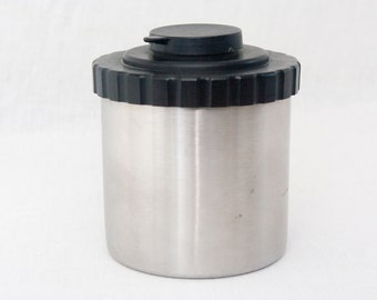 Vintage 1980s Stainless Steel 35mm Film Developing Tank with Two Reels for Analog Photography