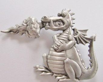 Rare JJ Jonette Whimsical Fire Breathing Dragon Brooch Pin