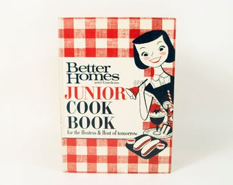 1960s Vintage Better Homes and Gardens Junior Cook Book, Original Red Gingham Print Cover