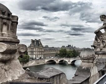 Storm Clouds Over the Seine -  16 x 24 Fine Art Canvas Print, Paris, Photograph, Wall Art, Home Decor